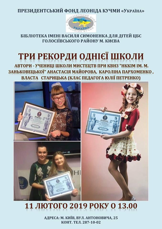 Юлія Петренко, рекорд, Власта Старицька, Кароліна Пархоменко, Анастасія Майорова