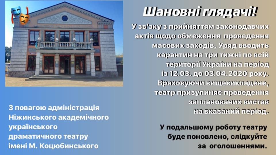 театр, карантин, закриття