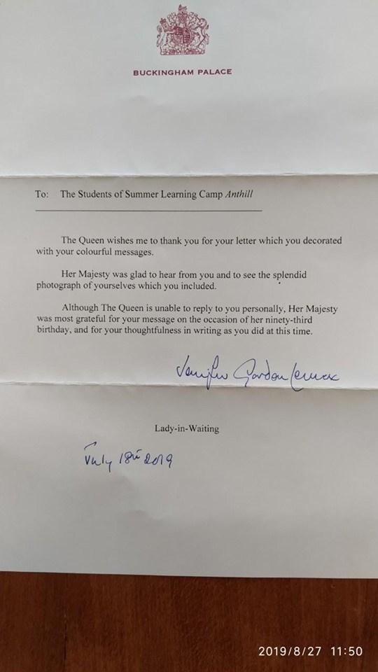королева, Велика Британія, лист, учні, гімназія №3